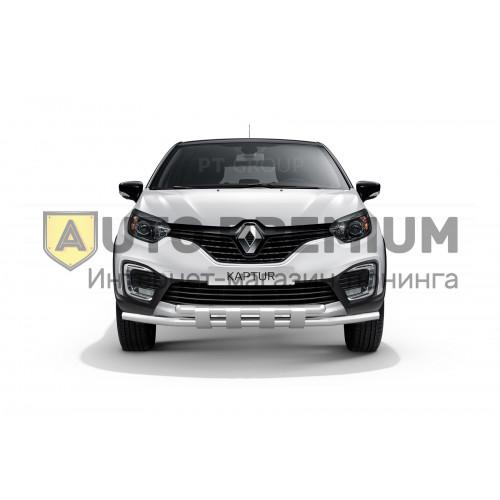 Защита переднего бампера двойная с пластинами Ø63/63 мм (НПС) на Renault KAPTUR с 2016
